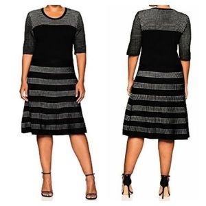 Calvin Klein Pointelle Fit & Flare Jumper Dress